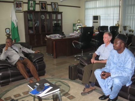 Picture of Courtesy Visit on UNIPORT Vice Chancellor by Rony. From left to right: Prof N.E.S. Lale, VC, UNIPORT; Prof Rony Swennen, IITA Scientist; Dr G.E. Omokhua, Director, IARD.