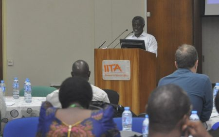 Robert Asiedu presents on IITA's biotechnology and genetic improvement strategy