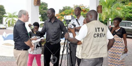 Picture of Central Africa Hub Director Bernard Vanlauwe being interviewed by the media