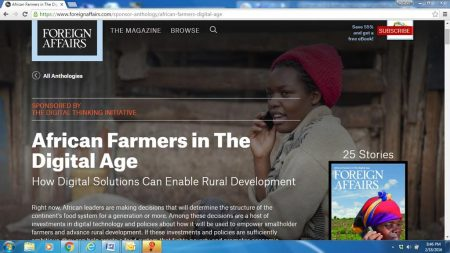 Picture of African farmers in the digital age story on Foreignaffairs.com