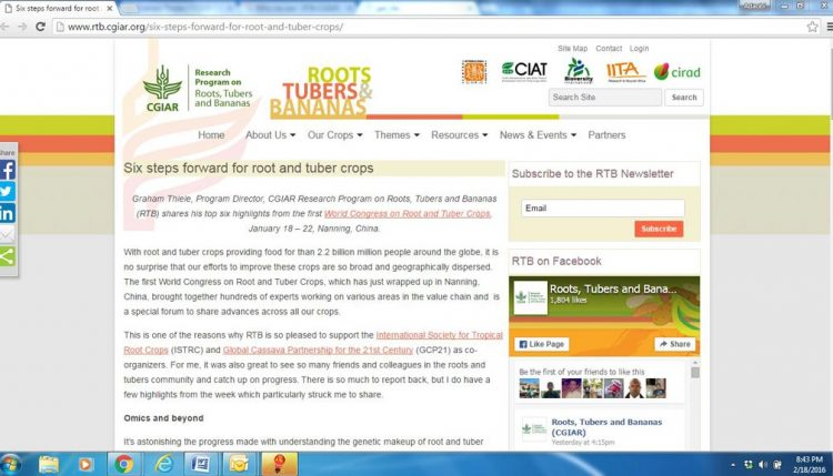 Picture of Story about the first World Congress on Root and Tuber Crops on RTB.cgiar.org website.