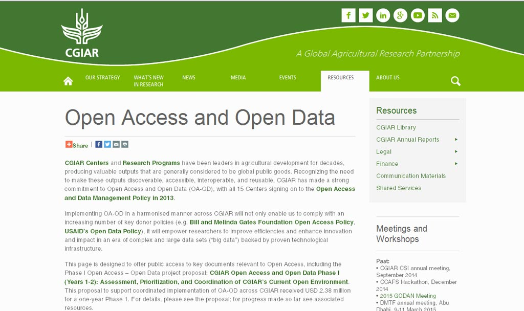 Picture of Open Access and Open Data on CGIAR.org website