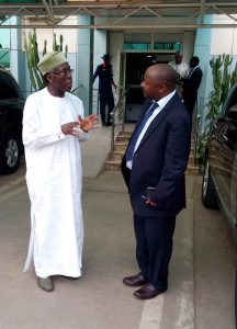 Picture of The Honorable Minister of Agriculture, Chief Audu Ogbeh talking to DG N. Sanginga