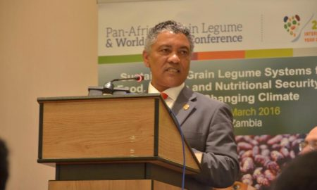 Picture of Zambia Minister of Agriculture Honorable Given Lubinda giving his keynote speech at the opening of the Joint Pan-African Grain Legume and World Cowpea Conference on 29 February at the AVANI Victoria Falls Resort in Livingstone, Zambia.