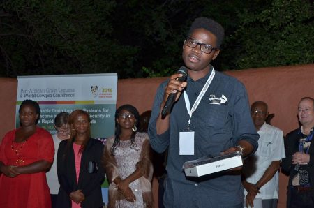 "Picture of ""It is indeed a great honor to be chosen as the 2016 African Young Grain Legume Scientist. It is my sincere hope that I could inspire other youths to go into agricultural research,"" said Ndeve in his acceptance speech."