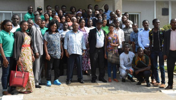 Group photo with DG Sanginga, IITA staff, and youth representatives from various countries attending the ENABLE Youth Design Workshop in Abuja.