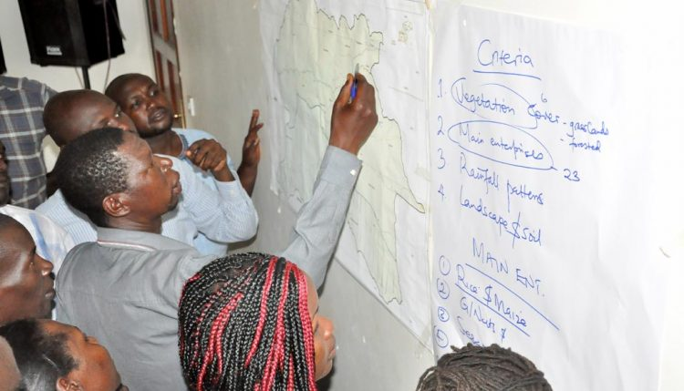 Picture of Participants planning for locally appropriate Climate Smart Agriculture options.