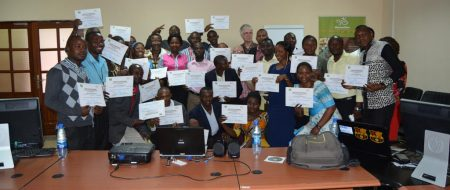 Picture of Youth Agripreneurs display their certificates of participation after the training.