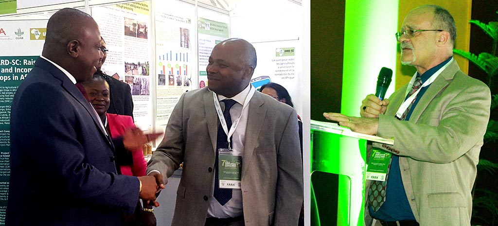 Picture of The IITA delegation at AASW was led by DG Nteranya Sanginga (left) and DDG Kenton Dashiell (right).