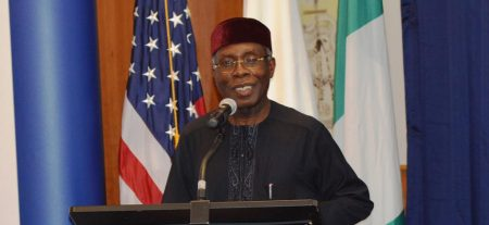 Picture of the Honorable Minister of Agriculture Chief Audu Ogbeh delivering his speech at the event.