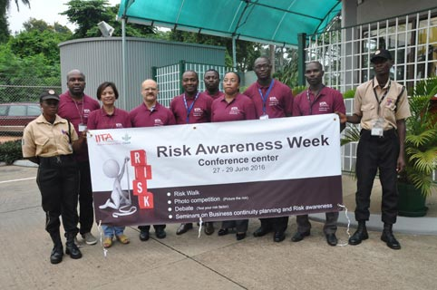 Picture of DDG Ken Dashiell with the Risk Management Committee members flag-off the opening of Risk Awareness Week in IITA.