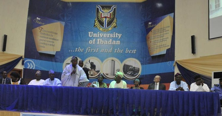 Picture of Olusegun Obasanjo (third from left) and Kenton Dashiell (second from right) lauded the efforts of UISB.