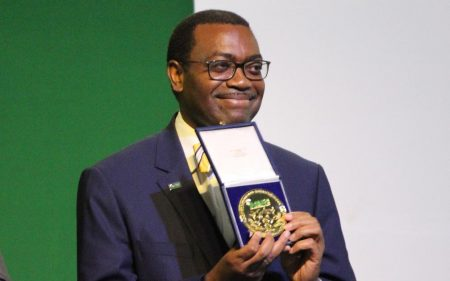 Picture of Akinwumi Adesina receives the FARA award in recognition of his visionary leadership.