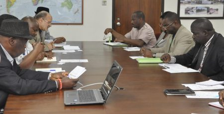 Picture of DG Nteranya Sanginga leads the meeting with CORAF Executive Director Abdou Tenkano.