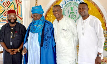 Picture of Hon John Abraham Godson, former Polish MP; Emir of Keffi, Alhaji Dr Shehu Chindo, Yamusa III; Gbassey Tarawali, IITA Abuja Representative; and Obinna Chukwuezie, IITA Communication Officer.