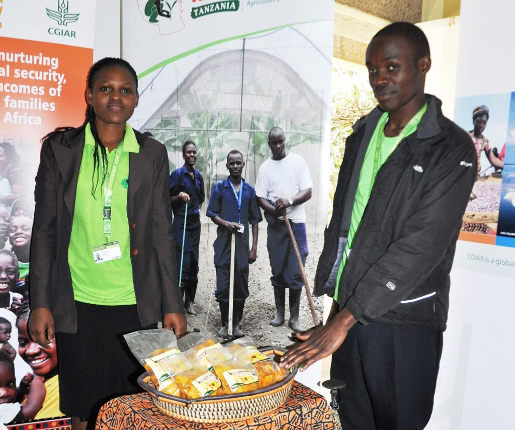 Picture of Veronica Kichanta and Julius Muli, IITA Agripreneurs fromTanzania and Kenya, respectively, at the IITA stand, CGIAR exhibition.