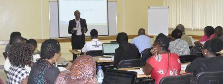 Picture of Sholola explaining to participants the training objectives, stressing the importance of IITA's zero tolerance policy for fraud.