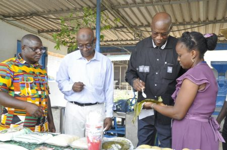 Picture of From (Left - Right ) Mr Sidibé and Dr Touré at the Cassava processing unit.