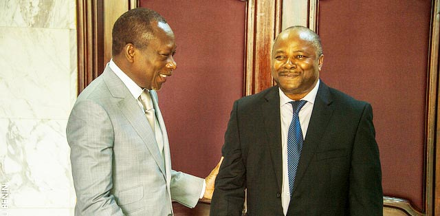 Picture of DG Nteranya Sanginga (right) is welcomed by the President of the Republic of Benin, H.E. Patrice Talon.