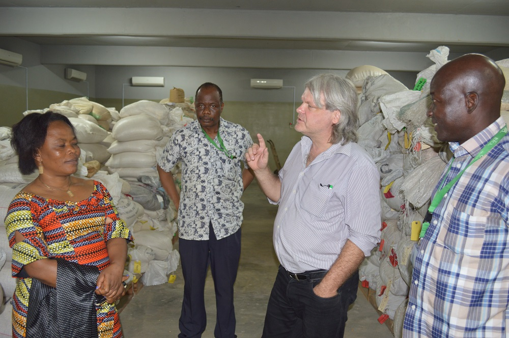 Picture of Bernard Vanlauwe takes the Provincial Minister, Ministry of Agriculture, Land and Rural Development, South Kivu, DR Congo, Madam Adolphine Muley Byayuwa on a tour of the Nodumax facility in Ibadan.