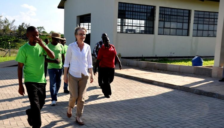 Picture of Ylva touring the Agripreneurs' processing and training center in Dar es Salaam, Tanzania.