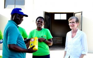 Picture of Ylva with Victor Manyong, hub Director and Veronica Kebwe, Chair of the Tanzania Youth Agripreneurs