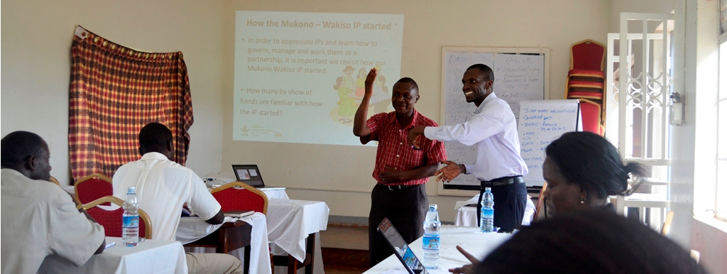 Picture of Mukulu making a presentation at one of the IP workshops.