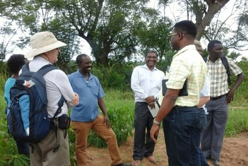 Picture of Members of the Next Generation Cassava Breeding team visit cassava trials at LZARDI in Tanzania.