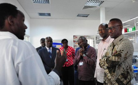 Picture of the team from Foreign Affairs Officials accompanied by staff at the hub on a tour of the laboratories.