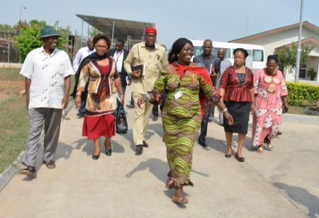 Picture of Elizabeth Parkes, cassava expert, leads the team from Ebonyi on a tour around IITA facilities.