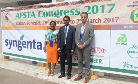 Picture of IITA representatives at the 17th annual congress of the AFSTA in Senegal.