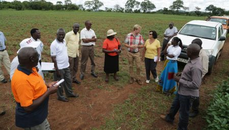Picture of Africa RISING management team delegation in Zambia during a visit to Good Nature Seed Ltd.
