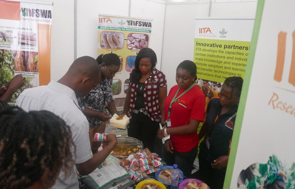 Picture of visitors thronged to the IITA exhibition stand