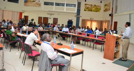 Picture of IITA's Abebe Menkir addressing the workshop attendees in Ibadan.