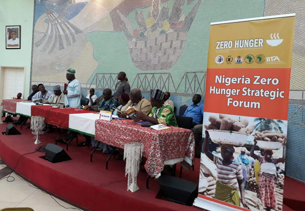 Picture of IITA Goodwill Ambassador, former president Olusegun Obasanjo, addressing the audience during the NZHF in Benue.