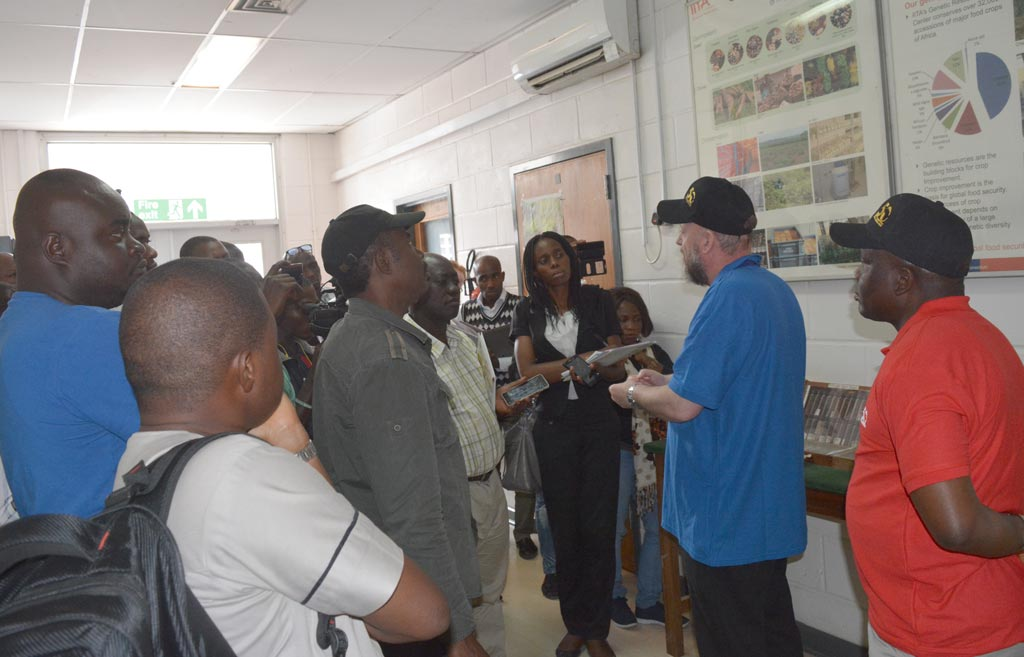 Picture of At the Genetic Resources Center, the media practitioners saw seeds of various crops of importance which IITA holds in trust for humanity.