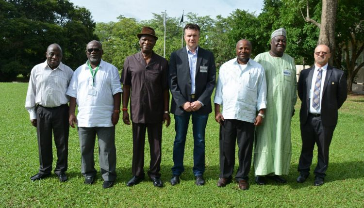 Picture of top officials of the Bill & Melinda Gates Foundation and IITA top management in a group photo.
