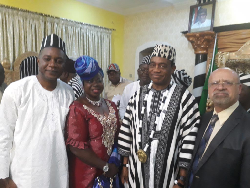 Picture of Godwin Atser, Toyin Oke, His Royal Highness, Tor Tiv, Prof James Ayatse; and DDG Dashiell in Benue state.