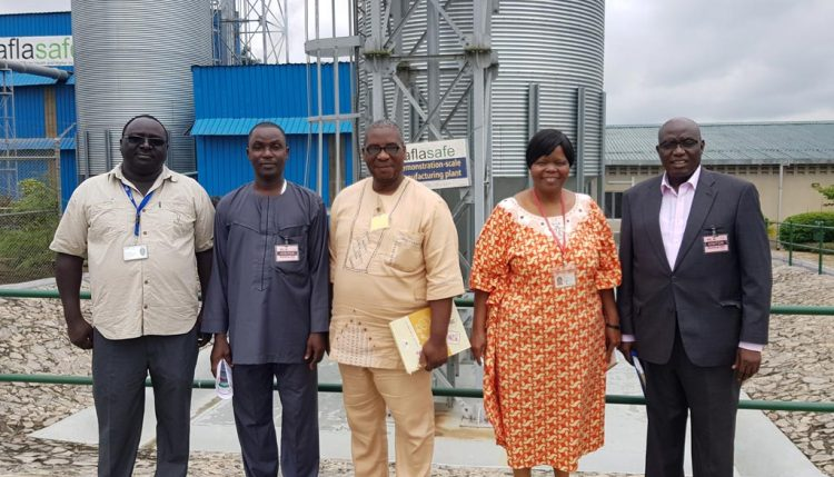 Picture of Dr Bussie Maziya-Dixon (in orange) with the NSPRI delegation visiting the aflasafe plant in IITA, Ibadan.