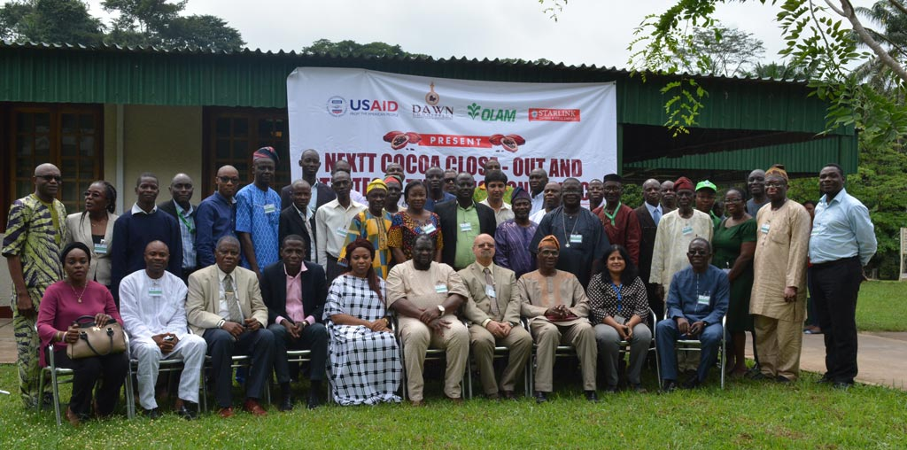 Picture of participants at the NEXTT Cocoa Close-out Meeting and Strategic Thinking held in IITA, Ibadan,Nigeria.