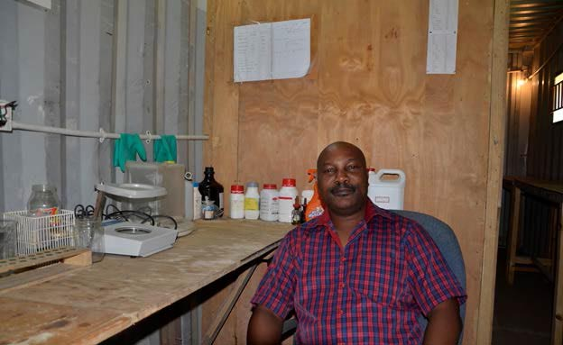 Picture of Mr Kawalewale in his inoculant production lab.