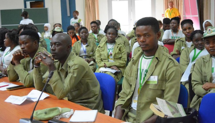 Picture of corpers attentively listening to the motivational speakers.