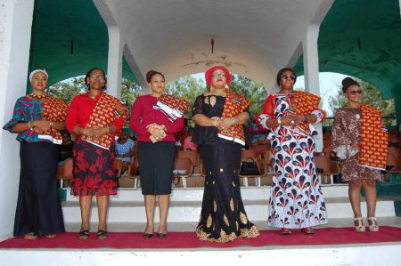 Picture of L-R: Princess Akunna Ubosi (fourth), wife of the Speaker Enugu House of Assembly, and wives of Honorable members in Enugu State.