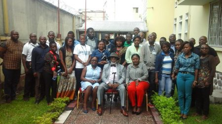 Picture of HE Marcelin Chisambo (in the middle) and IITA-Kinshasa staff and agripreneurs.