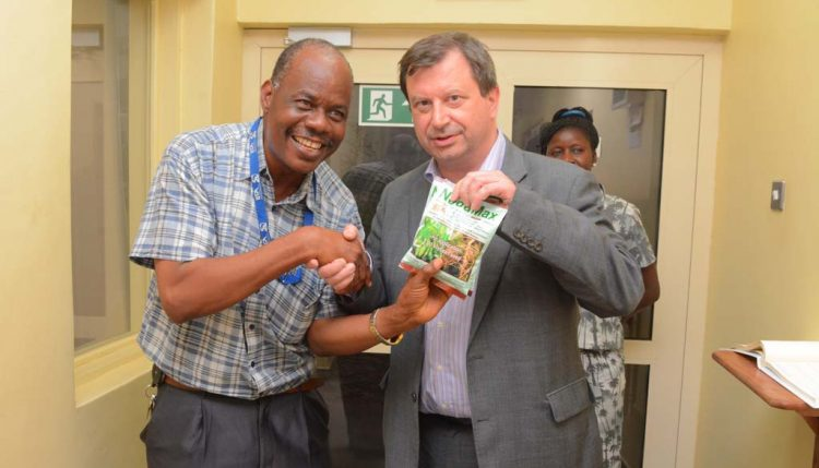 Picture of His Excellency receives a NoduMax souvenir from Plant Manager, Ayodele Alonge.