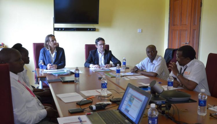 Picture of David Chikoye with other Southern Africa Hub colleagues briefing the Swiss delegation.