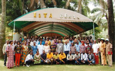 Group photo of IITA Benin staff taken during the IITA50 celebration.