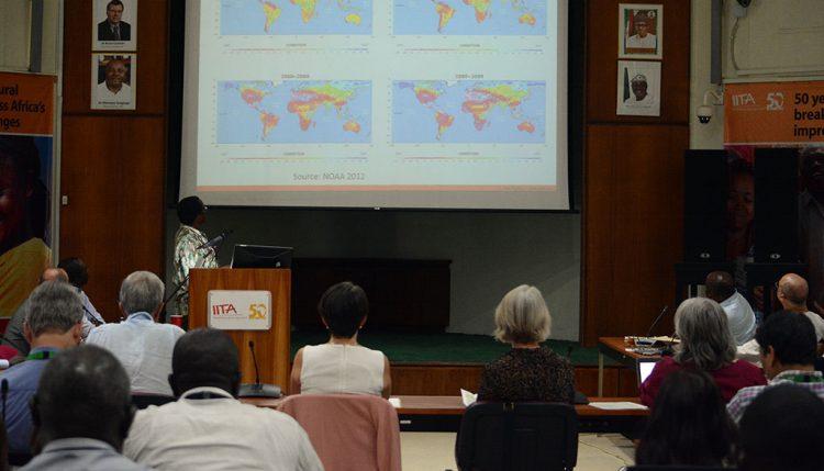 David Chikoye presenting drought data.
