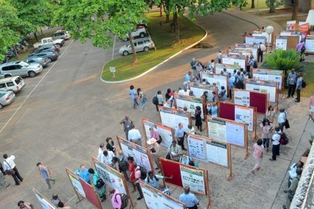 Overhead view of poster presentations.