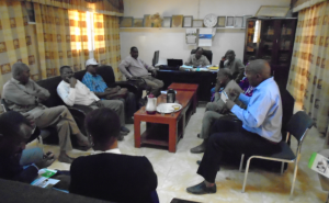 Picture of ENABLE mission team meeting with Dr Hassan Khalid Ali, DG of ARC Nile State.